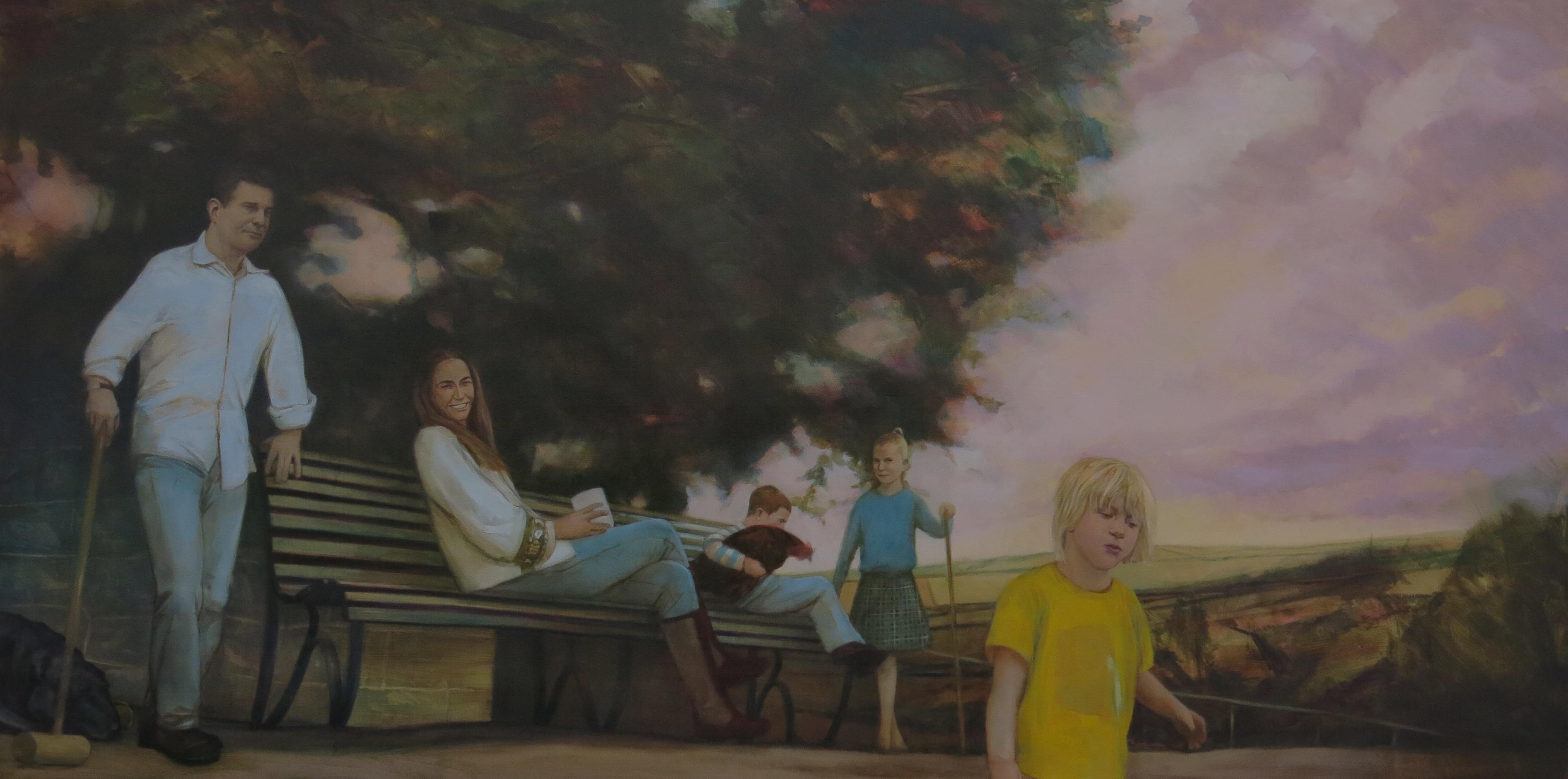 """The Kirks. Oil on Linen, 48 x 96""""."""