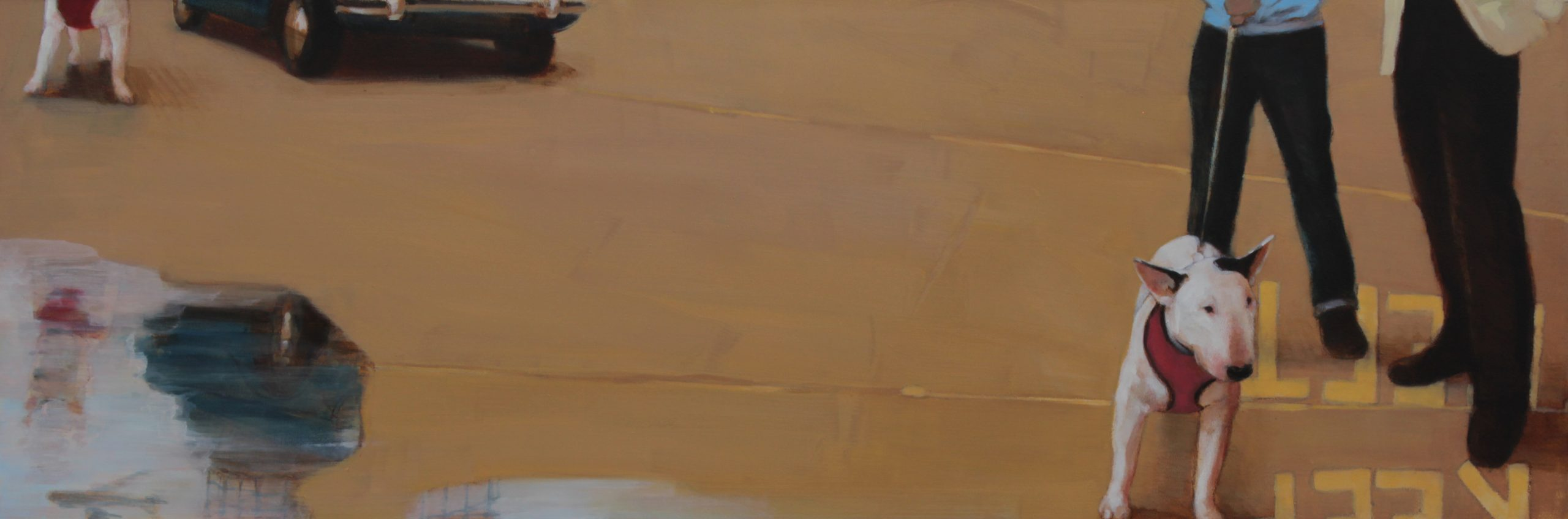 """Trousered 10x 30"""" Oil on Board"""